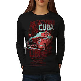 Cuba Libre Revolution kvinder Sort langærmet T-shirt | Wellcoda