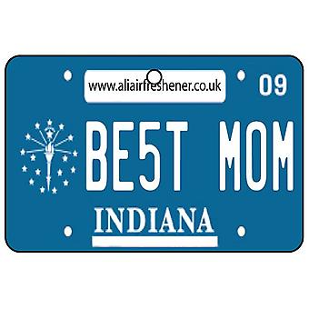 Indiana - Best Mom License Plate Car Air Freshener