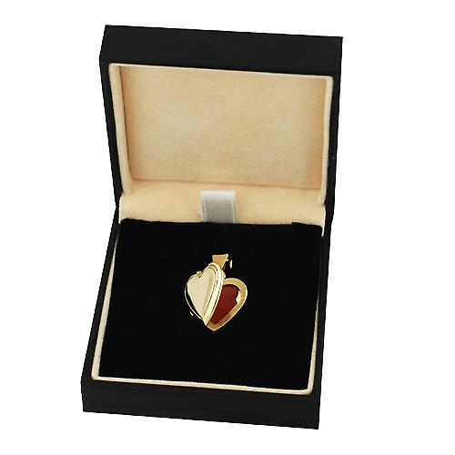 18ct Gold 17x17mm plain flat heart shaped Locket