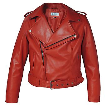 Womens Moto Lipstick Red Leather Jacket