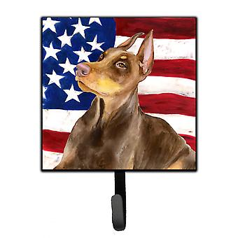 Carolines Treasures  BB9709SH4 Doberman Pinscher Patriotic Leash or Key Holder
