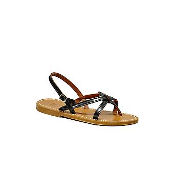 K Jacques ODEONPIOMBO ladies black leather sandals
