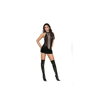 Elegant Moments EM-V8164X Vinyl and mesh mini dress with looped chain detail and zip back