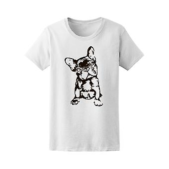 Black And White French Bulldog Tee Women's -Image by Shutterstock