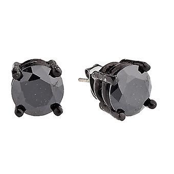Iced out bling ronde cubic zirconia Stud Oorbellen - zwart