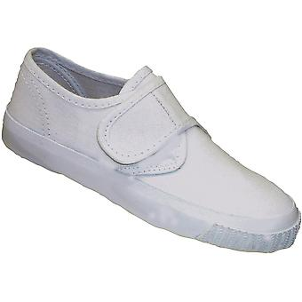 Mirak flickor textil Plimsoll Sneaker sko Boxed vit (Lge)