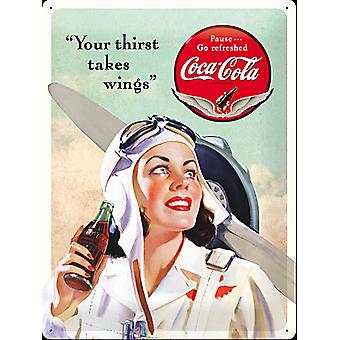 Coca Cola Your Thirst Takes Wings Large Embossed Steel Sign 400Mm X 300Mm