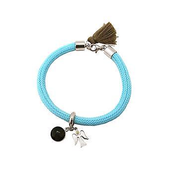 Gemshine kvinders armbånd 925 sølv ædelsten røget kvarts engel blå brun