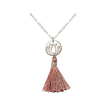 Gemshine - damer - kjede - anheng - 925 sølv - Lotus Flower - tassel - rose - YOGA - 45 cm