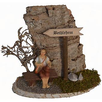 Bethlehem sign with Bank and Shepherd for Nativity wooden Christmas crib crib accessories