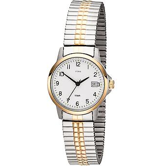 JOBO ladies wrist watch quartz analog bicolor stainless steel cable gold plated date