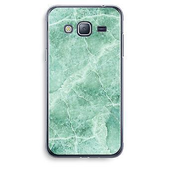 Samsung Galaxy J3 2016 Transparent Case (Soft) - Green marble