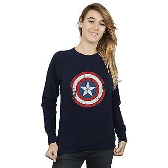Marvel Women's Captain America Civil War Distressed Shield Sweatshirt