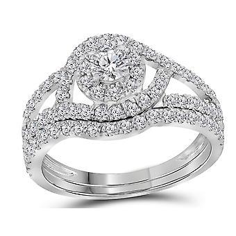 7/8 Carat (Color G-H, I1) Diamond Engagement Halo Ring Bridal Wedding Set in 14K White Gold