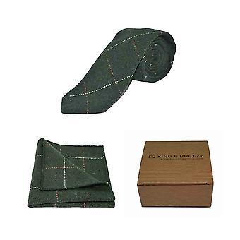 Luxury Herringbone Forest Green Tweed Men's Tie & Pocket Square Set | Boxed