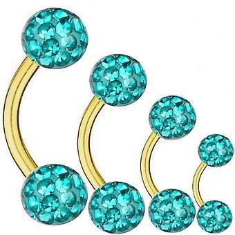 Geschwungene Langhantel vergoldet Titan 1,6 mm, Multi Kristallkugel Aquamarin | 6-16