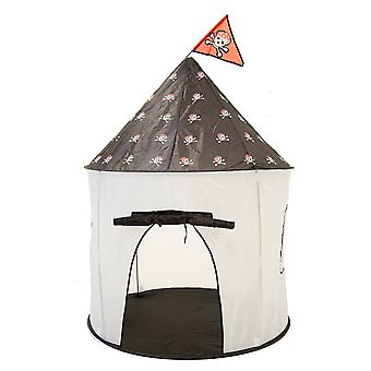 Charles Bentley Pirate Castle Play Tent Pop Up Indoor / Outdoor with Patterned Roof - Lightweight in White