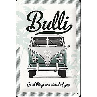 VW Bulli coisas boas estão em frente de você em relevo aço sinal (300 Mm X 200 Mm)