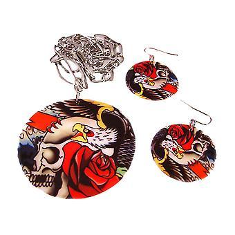 Tattoo Skull & Roses Shell Necklace & Earrings Set