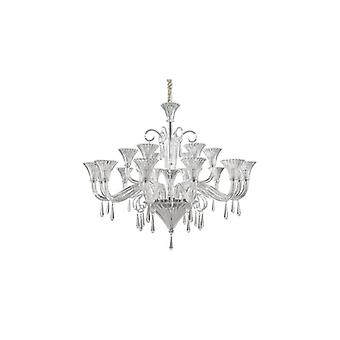 Ideal Lux - Santa Clear Glass And Chrome Eighteen Light Chandelier Idl142227