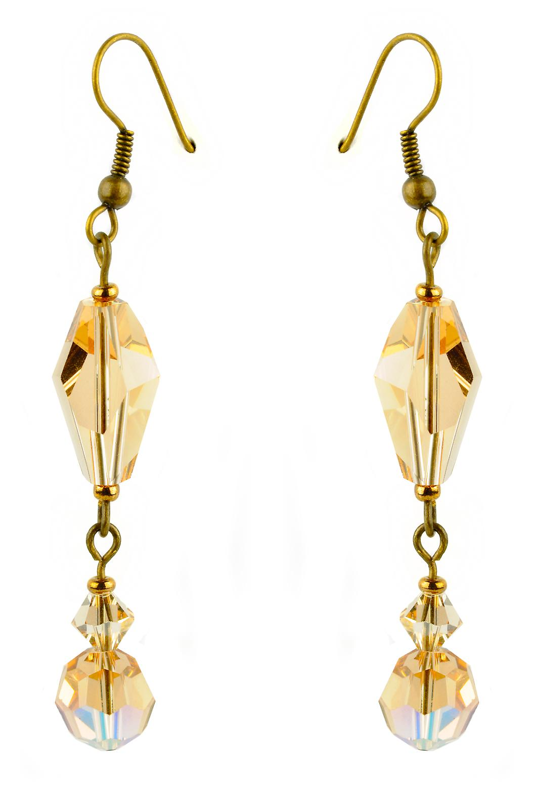 Waooh - Fashion Jewellery - WJ0728 - On Earrings with Swarovski Yellow & White - Frame Colour Gold