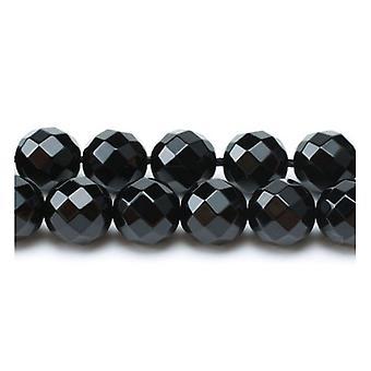 Pakke 8 x sort Onyx 8mm fasetterte runde perler VP1135