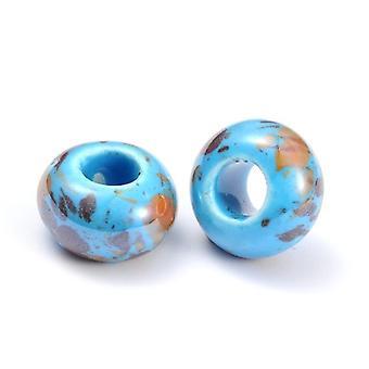 Packet 10 x Pale Blue Porcelain 10 x 15mm Pearlised Plain Rondelle Beads HA27415