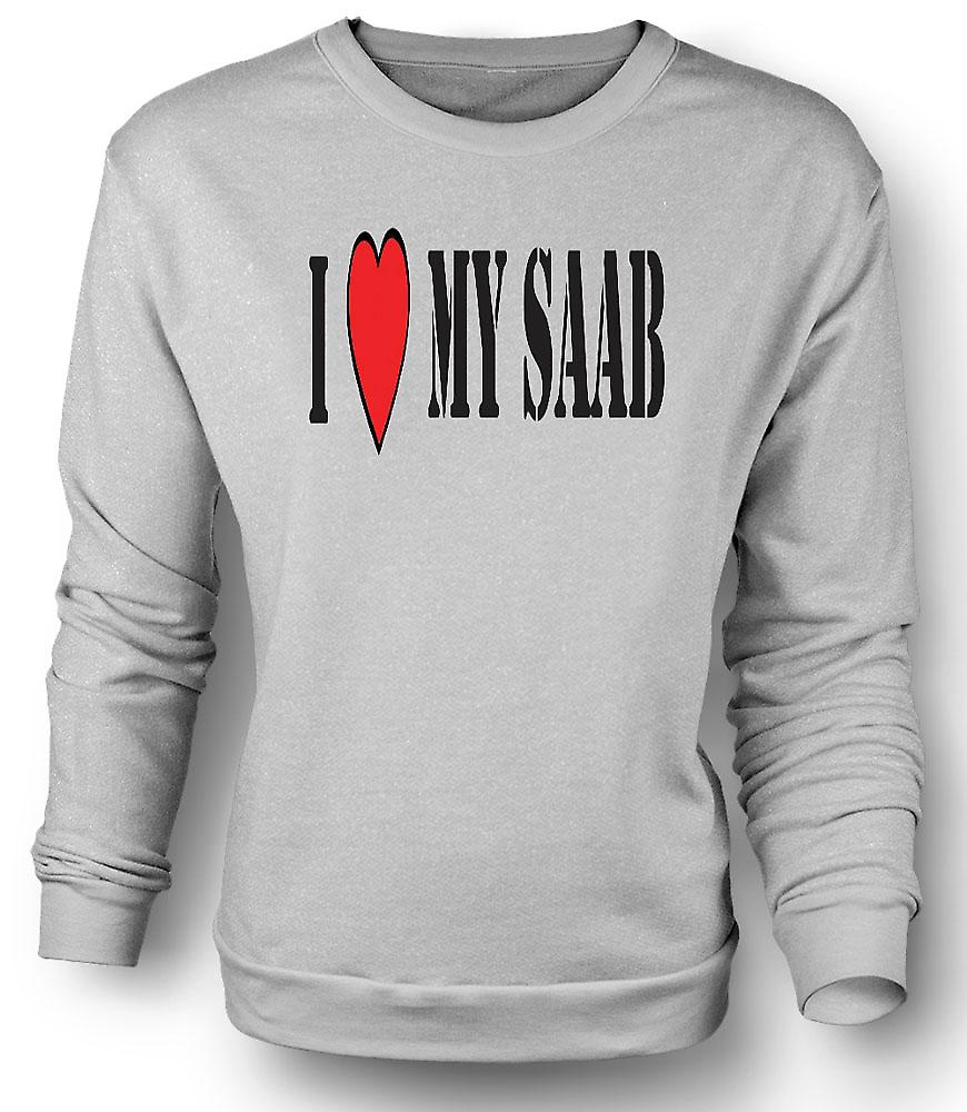 Mens Sweatshirt I LoveMy Saab - Fun Car