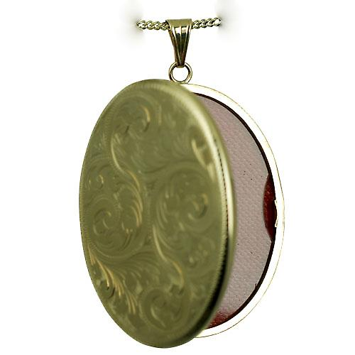 9ct Gold 45x36mm hand engraved flat oval Locket with a strong bright cut curb chain