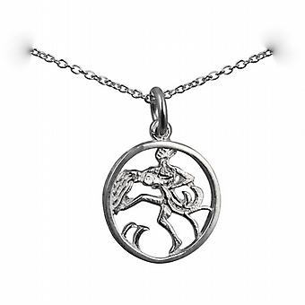 Silver 11mm pierced Aquarius Zodiac Pendant with a rolo Chain 14 inches Only Suitable for Children