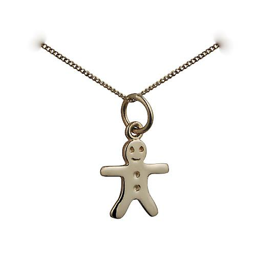 9ct Gold 11x12mm Gingerbread Man Pendant with a curb Chain 16 inches Only Suitable for Children
