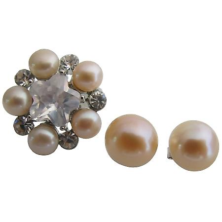 Freshwater Pearl Ring with Matching Stud Earrings