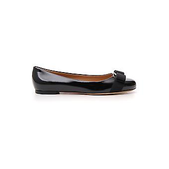 Salvatore Ferragamo Varina Black Patent Leather Flats