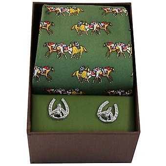 David Van Hagen koń wyścigowy krawat i spinki zestaw - zielony