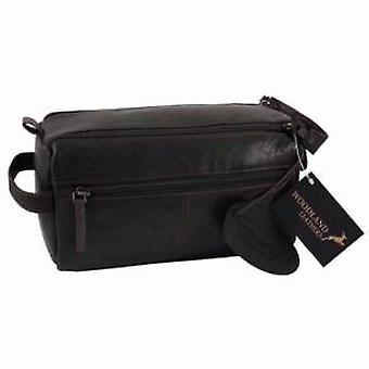 Woodland Leathers Dark Brown Leather Wash Bag (D)