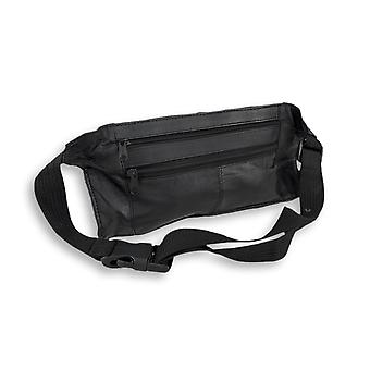 Flat Black Leather Waist Pouch with 4 Zipper Compartments