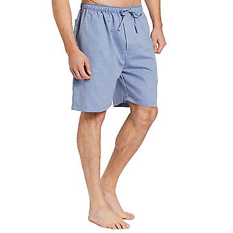 British Boxers Garrison Blue Herringbone Men's Pyjama Shorts