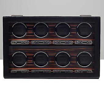 Wolf Designs Roadster Black Leather & Wood 8 Piece Watch Winder 2.7