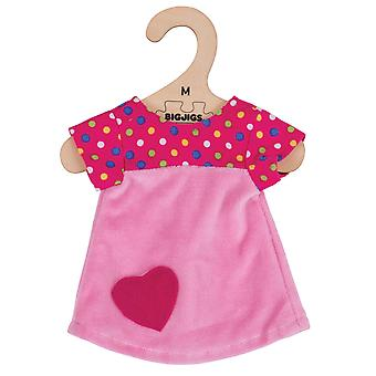 Bigjigs Toys rosa Kleid mit Flecken (34cm) Kleidung Outfit Dress Up Doll