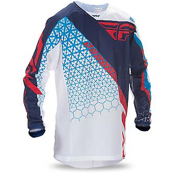 Fly Racing Red-White-Blue 2017 Kinetic Mesh Kids MX Jersey