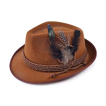Bristol Novelty Unisex Felt Hat With Feathers