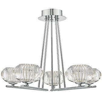 Jensine 5lt Semi Flush Polished Chrome - Verre facetté