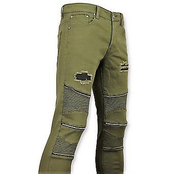 Grön Biker Skinny Jeans män-herrbyxor-3017-9