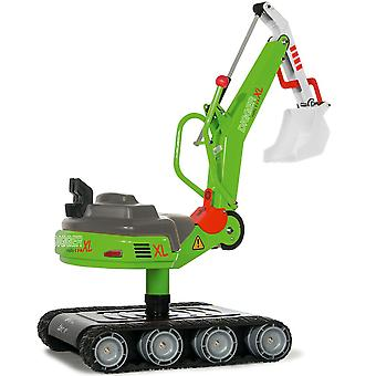 Ride On Digger John Deere Style Green Rolly