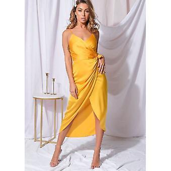 Satin Wrap Over Midi Dress Yellow