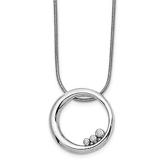 925 Sterling Silver Polished Gift Boxed Rhodium-plated Lobster Claw Closure White Ice Diamond Necklace - 18 Inch