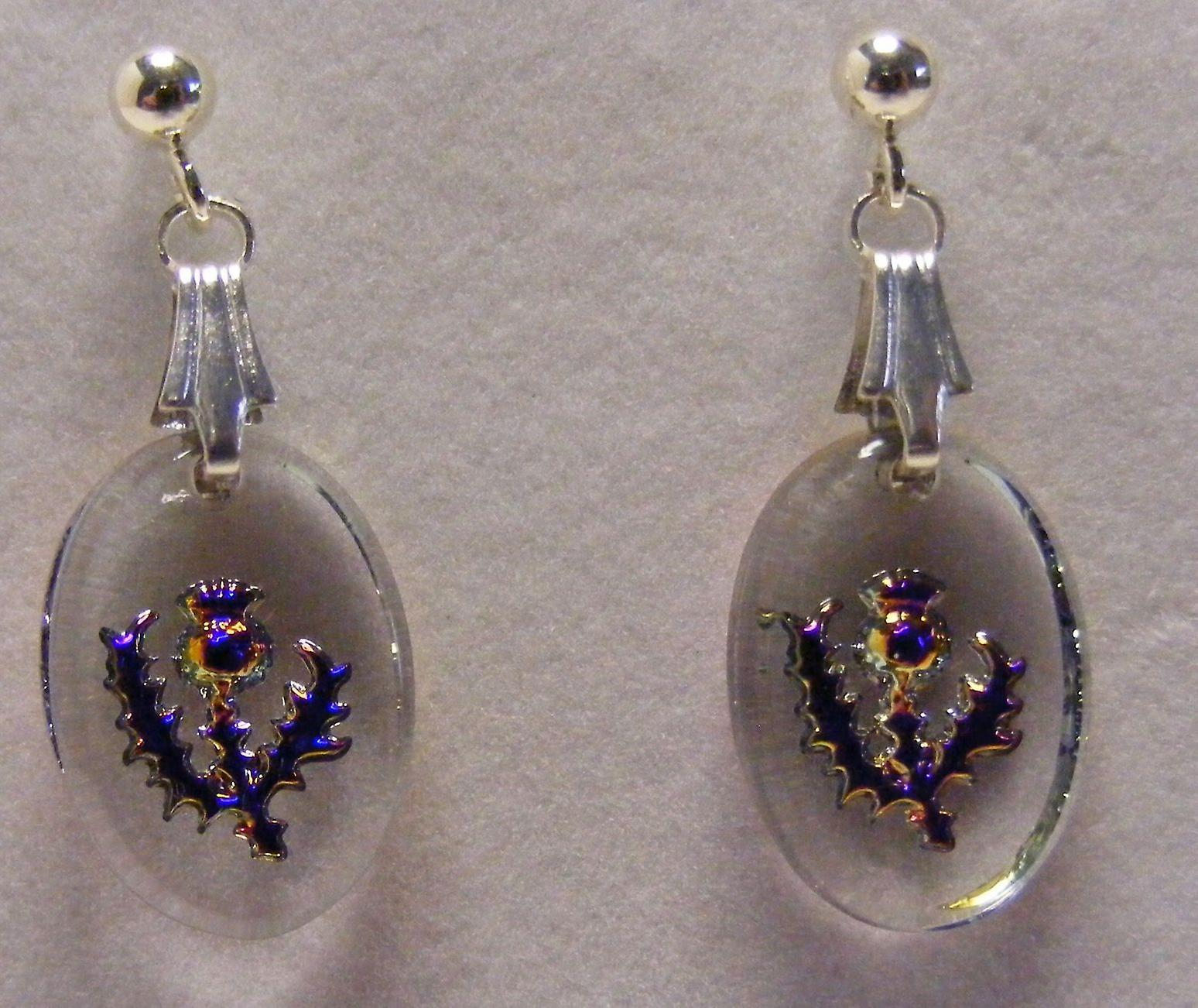 Heliotrope Thistle Oval Earrings and Small Pendant set