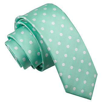 Men's Polka Dot Mint Green Skinny Tie