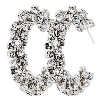 Martine Wester Crystal Twist Hoop Earrings