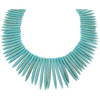 Kenneth Jay Lane Turquoise Blue Bone Spike Necklace